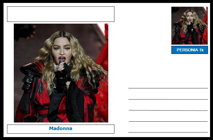 "Personalities - souvenir postcard (glossy 6""x4"", 260 gsm card) - Madonna - unused and superb"
