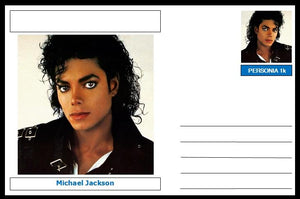 "Personalities - souvenir postcard (glossy 6""x4"", 260 gsm card) - Michael Jackson - unused and superb"