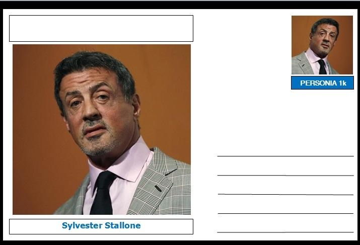 "Personalities - souvenir postcard (glossy 6""x4"", 260 gsm card) - Sylvester Stallone - unused and superb"