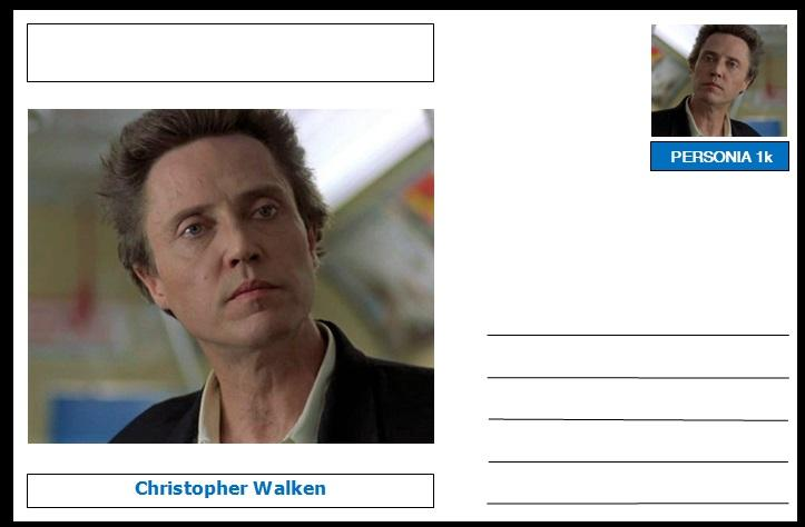 "Personalities - souvenir postcard (glossy 6""x4"", 260 gsm card) - Christopher Walken - unused and superb"