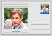 "Personalities - souvenir postcard (glossy 6"" x 4"" [15cm x 10cm] card) - Harrison Ford actor cinema movies #2"