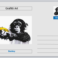 Personalities - postcard  - Banksy grafitti art - chimpanzee with banana