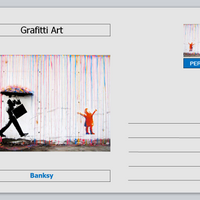 Personalities - postcard  - Banksy grafitti art - umbella coloured rain