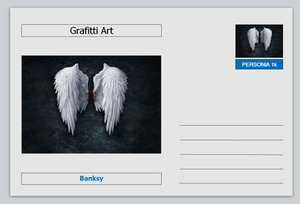 Personalities - postcard  - Banksy grafitti art - pair of wings