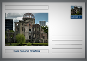 "Landmarks - Peace Memorial, Hiroshima souvenir postcard (glossy 6""x4""card) unused and fine"
