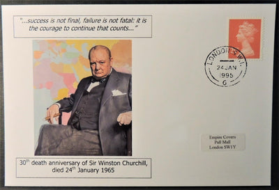 Winston Churchill 30th death anniversary - privately produced postal card 150 x 100mm with 24 Jan 1985 cds cancel