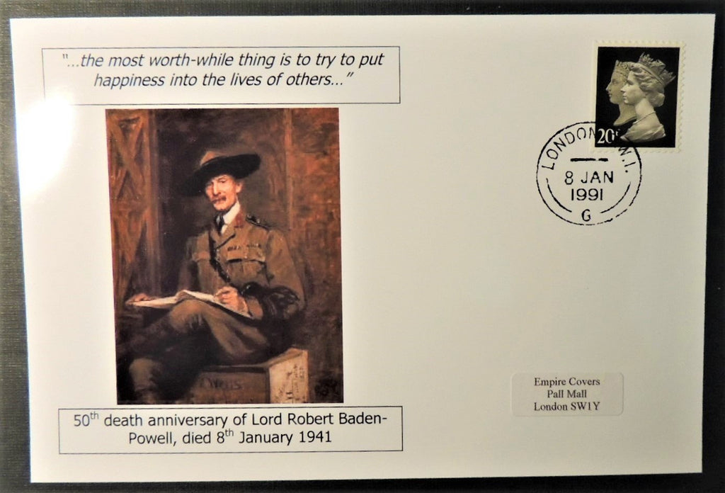 Lord Robert Baden-Powell 50th death anniversary - privately produced glossy postal card 150 x 100mm with 8 Jan 1991 cds cancel