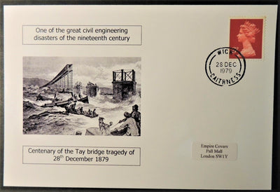 Tay Bridge Tragedy centenary - privately produced glossy postal card 150 x 100mm with 28 Dec 1979 cds cancel