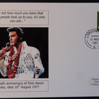 10th death anniversary of Elvis Presley - privately produced glossy postal card 150 x 100mm with 16 Aug 1987 cds cancel
