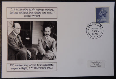 75th anniversary of first successful airplane flight - privately produced glossy postal card 150 x 100mm with 17 Dec 1978 cds cancel
