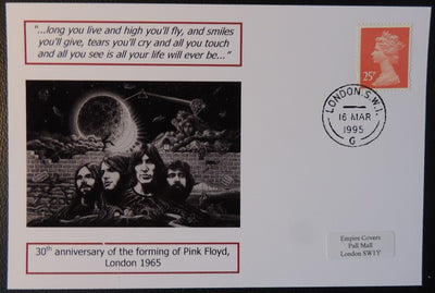 30th anniversary of the forming of Pink Floyd - privately produced glossy postal card 150 x 100mm with 16 Mar 1995 cds cancel