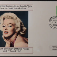 20th death anniversary of Marilyn Monroe - privately produced glossy postal card 150 x 100mm with 4 Aug 1982 cds cancel