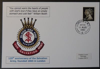 125th anniversary of the Salvation Army privately produced glossy postal card 150 x 100mm with 16 Aug 1990 cds cancel