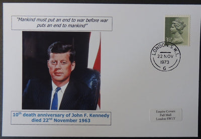 10th death anniversary of president John F Keneddy - privately produced glossy postal card 150 x 100mm with 22 Nov 1973 cds cancel