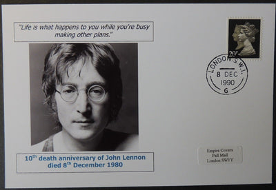 10th death anniversary of John Lennon - privately produced glossy postal card 150 x 100mm with 8 Dec 1990 cds cancel