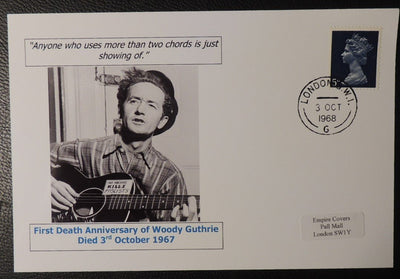 First death anniversary of Woody Guthrie - privately produced glossy postal card 150 x 100mm with 3 Oct 1968 cds cancel