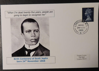 Birth bicentenary of Scott Joplin - privately produced glossy postal card 150 x 100mm with 24 Nov 1968 cds cancel