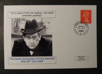 First death anniversary of Tony Hancock - privately produced glossy postal card 150 x 100mm with 27 Jun 1969 cds cancel