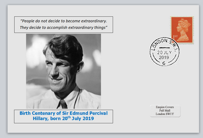 GB 2019 birth bicentenary edmund hillary explorer privately produced white glossy postal card 150 x 100mm with 20 jul 2019 cds cancel #1