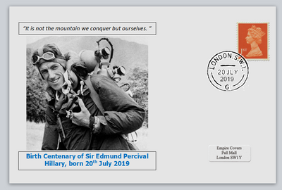 GB 2019 birth bicentenary edmund hillary explorer privately produced white glossy postal card 150 x 100mm with 20 jul 2019 cds cancel #2