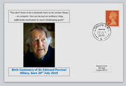 GB 2019 birth bicentenary edmund hillary explorer privately produced white glossy postal card 150 x 100mm with 20 jul 2019 cds cancel #3