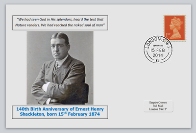 GB 2014 140th birth anniversary Ernest Shackleton antarctic explorer privately produced white glossy postal card 150 x 100mm with 15 feb 2014 cds cancel