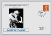 GB 2018 90th death anniversary Roald Amundsen antarctic explorer privately produced white glossy postal card 150 x 100mm with 16 jun 2018 cds cancel #1
