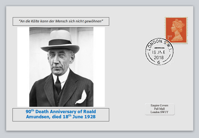 GB 2018 90th death anniversary Roald Amundsen antarctic explorer privately produced white glossy postal card 150 x 100mm with 16 jun 2018 cds cancel #2