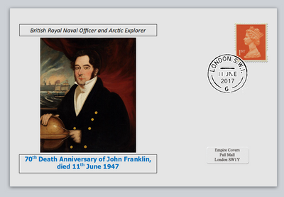 GB 2017 70th death anniversary John Franklin antarctic explorer militaria privately produced white glossy postal card 150 x 100mm with 11 jun 2017 cds cancel