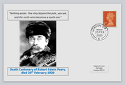 GB 2020 death centenary Robert Edwin Peary antarctic explorer militaria privately produced white glossy postal card 150 x 100mm with 20 feb 2020 cds cancel #1
