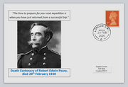 GB 2020 death centenary Robert Edwin Peary antarctic explorer militaria privately produced white glossy postal card 150 x 100mm with 20 feb 2020 cds cancel #2