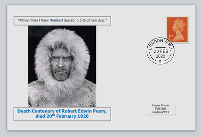 GB 2020 death centenary Robert Edwin Peary antarctic explorer militaria privately produced white glossy postal card 150 x 100mm with 20 feb 2020 cds cancel #3