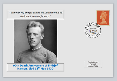 GB 2020 90th death anniversary Fridtjof Nansen antarctic explorer nobel privately produced white glossy postal card 150 x 100mm with 13 may 2020 cds cancel #2
