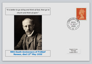 GB 2020 90th death anniversary Fridtjof Nansen antarctic explorer nobel privately produced white glossy postal card 150 x 100mm with 13 may 2020 cds cancel #3