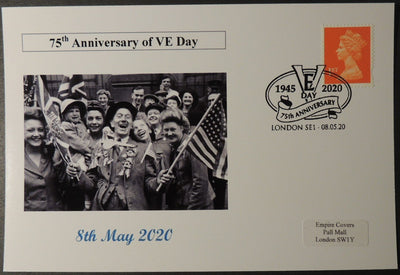 VE Day 75th anniversary - privately produced postal card 150 x 100mm with london cancel ww2 wwii #2