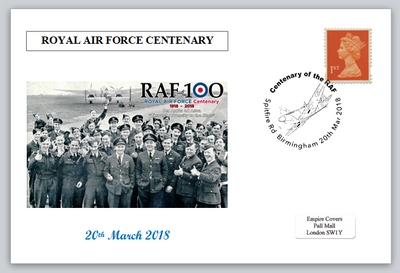 Centenary RAF Royal Air Force aviation aircraft bomber crew spitfire privately produced postal card 150 x 100mm superb used