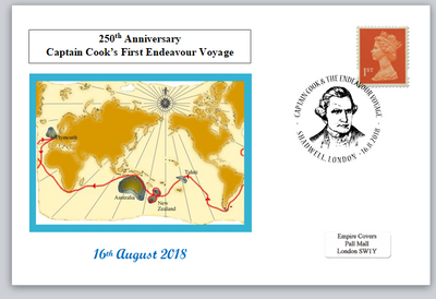 250th anniversary first captain cook endeavour voyage maps privately produced postal card 150 x 100mm superb used