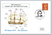 250th anniversary first captain cook endeavour voyage ships privately produced postal card 150 x 100mm superb used