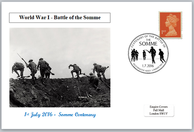 Centenary battle of the somme ww1 wwi soldiers militaria privately produced postal card 150 x 100mm superb used