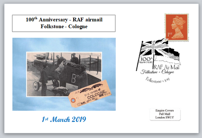 100th anniversary RAF mail folkstone to cologne postal flags privately produced postal card 150 x 100mm superb used
