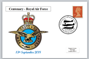 Centenary RAF royal air force aviation emblem militaria aircraft privately produced postal card 150 x 100mm superb used