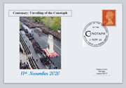 GB 2020 centenary unveiling of the cenotaph wwi wwii privately produced postal card 150 x 100mm superb used