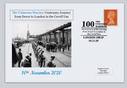 GB 2020 100th anniversary unknown warrior cavell van journey dover to london ww1 ww2 militaria privately produced postal card 150 x 100mm superb used #2