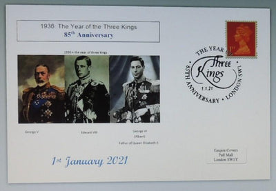 GB 2020 85th anniversary year of the 3 kings royalty kg5 kg6 ke8 privately produced (white) glossy postal card 150 x 100mm superb used #1