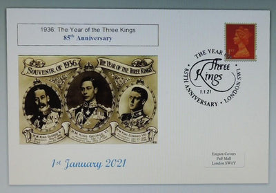 GB 2020 85th anniversary year of the 3 kings royalty kg5 kg6 ke8 privately produced (white) glossy postal card 150 x 100mm superb used #2