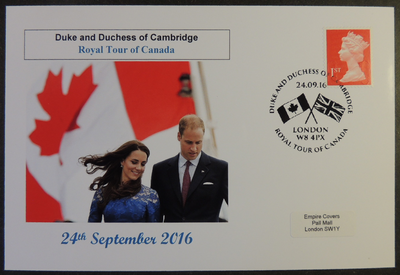 GB 2016 duke and duchess of cambridge royal tour of canada royalty flags privately produced (white) glossy postal card 150 x 100mm superb used