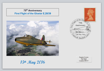 GB 2016 75th anniversary 1st flight gloster e.28/39 aviation raf jet fighter aircraft privately produced (white) glossy postal card 150 x 100mm superb used