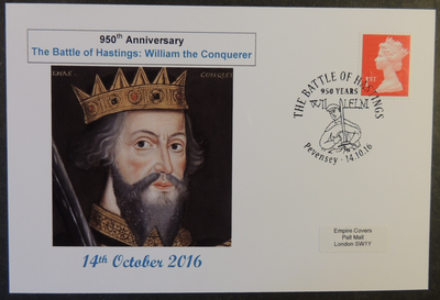 GB 2016 950th anniversary battle of hastings militaria history william the conquerer royalty privately produced (white) glossy postal card 150 x 100mm superb used #5