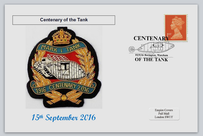 GB 2016 centenary of the tank militaria tanks emblems privately produced (white) glossy postal card 150 x 100mm superb used #1