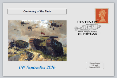 GB 2016 centenary of the tank militaria tanks aircraft aviation privately produced (white) glossy postal card 150 x 100mm superb used #2